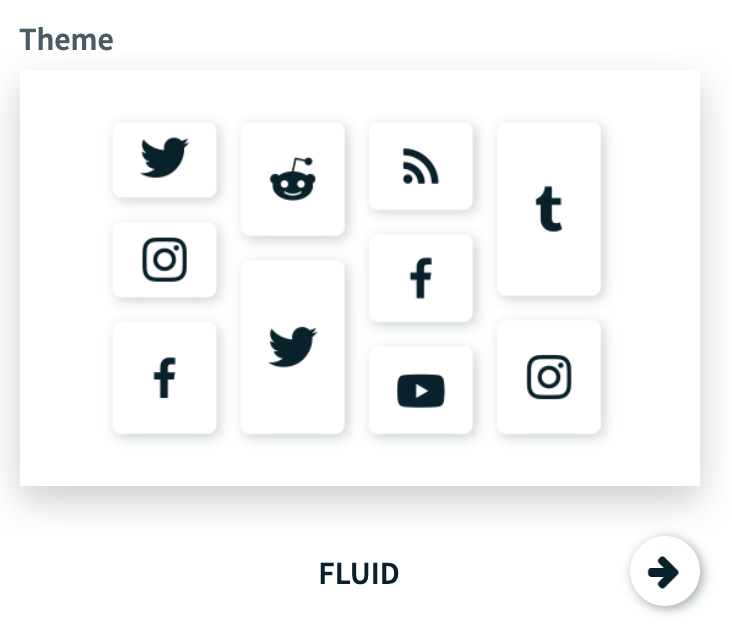 Themes available for a social wall. The image shows the Fluid theme example.