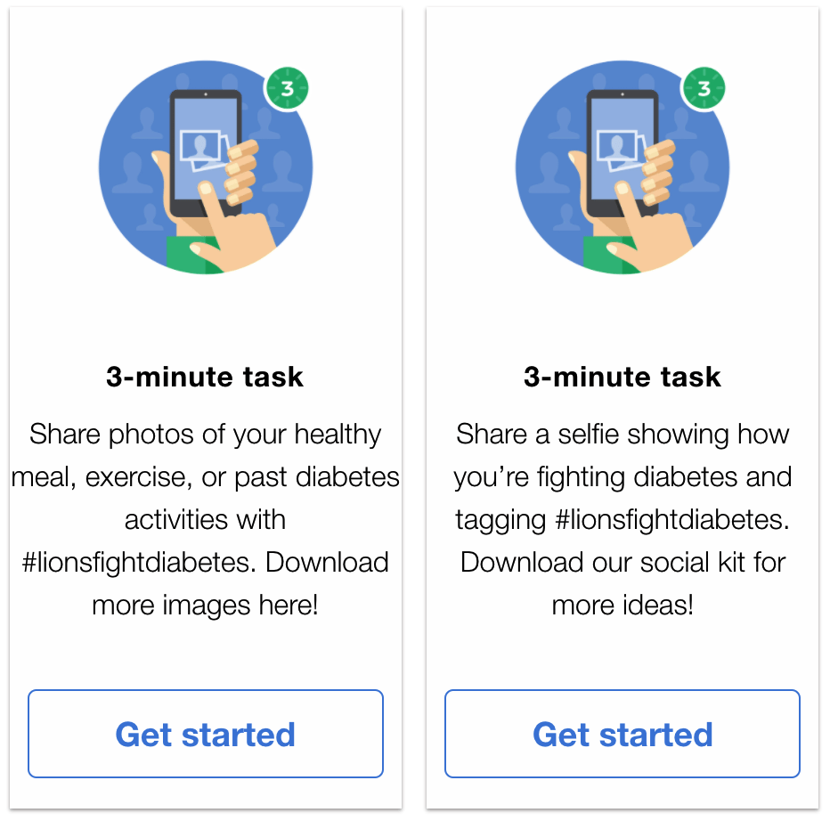 Image shows two examples of 3-minute online tasks to support World Diabetes Day. 1. Share a photo of healthy activities on social media, 2. Share a selfie showing how you are fighting diabetes.