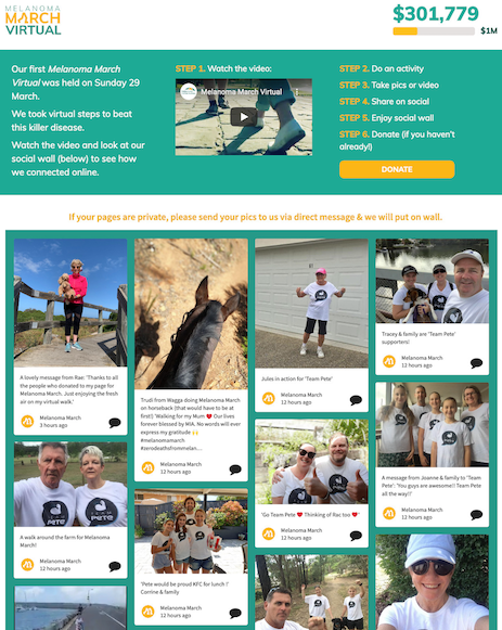 Melanoma March 2020 website. At the top: Instructions for participating at social media fundraising event. Bottom: a social wall showing attendees' activities.