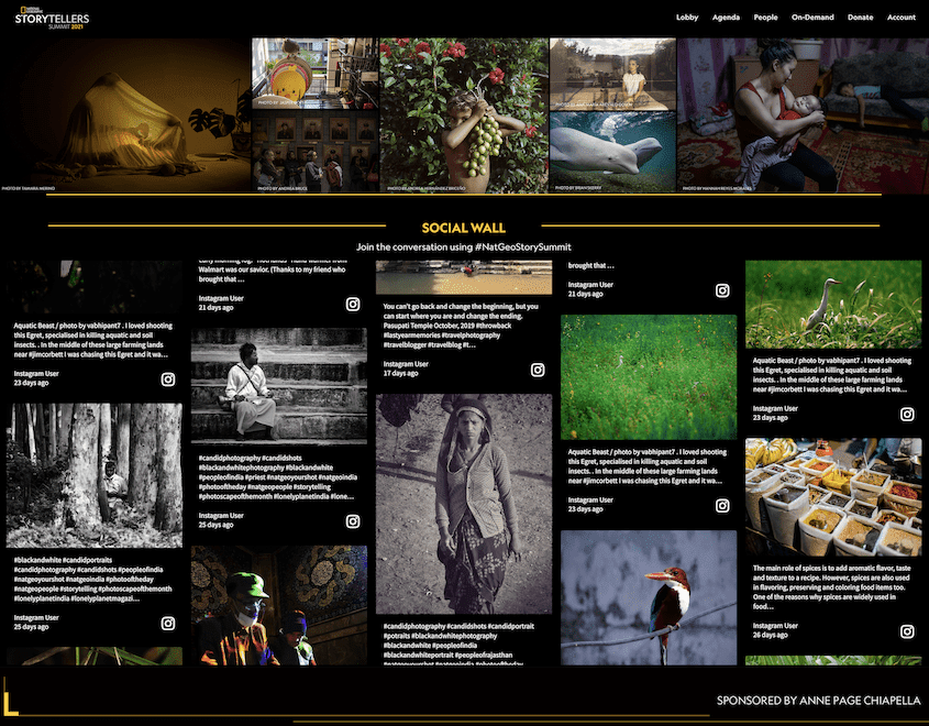 Virtual event platforms example: National Geographic's virtual event - the Storytellers Summit 2021 with a social media wall from Walls.io.