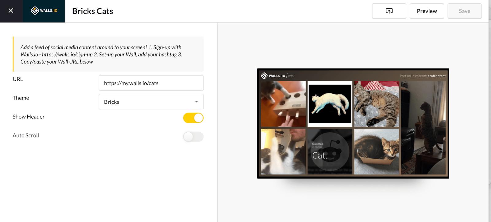 A screenshot of ScreenCloud's interface displaying a social wall.