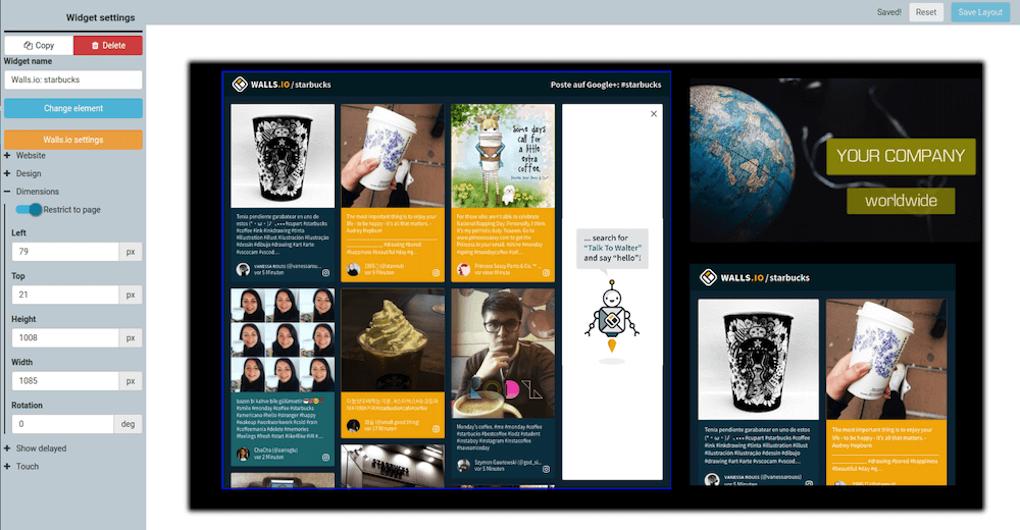 A screenshot of a Walls.io social wall displayed on digital signage software Sklera.