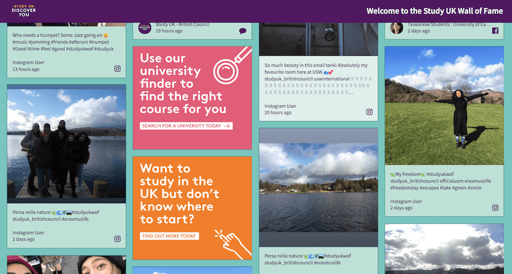 Screenshot of Study UK's social wall displaying posts from international students and sponsored tiles promoting their website.