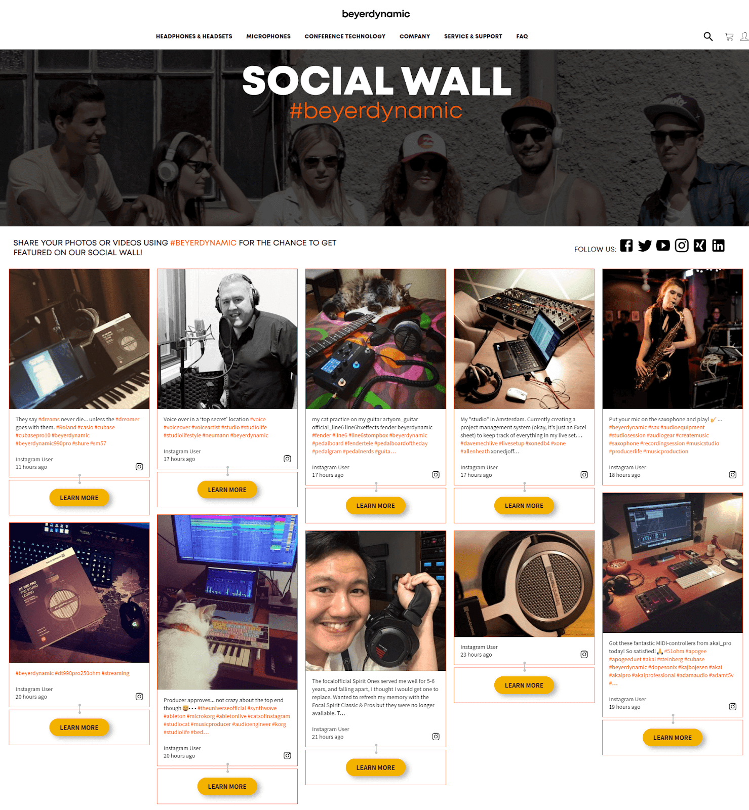 Screenshot of beyerdynamic's social feed showcasing user-generated content with CTA buttons that say Learn more.