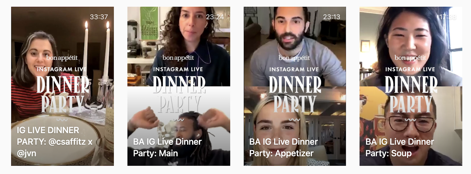 """Screenshot of four IGTV videos by Bon Appetit from their Instagram Live series """"Party Dinner."""""""