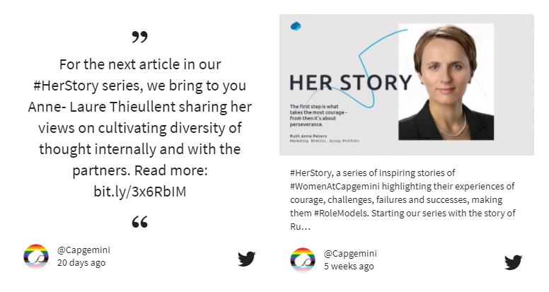 Screenshot of Capgemini's social wall featuring two stories by two female employees.
