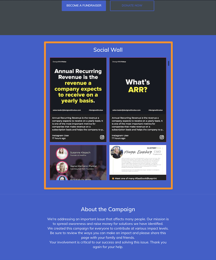 A social wall integrated on a fundraising platform powered by Classy.