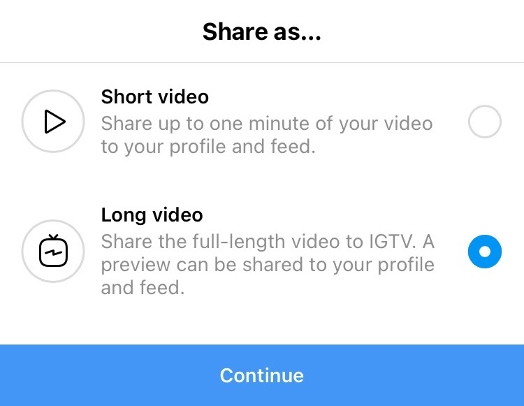 Screenshot of Instagram pop-up asking users to upload a video as a short video or long video for IGTV.