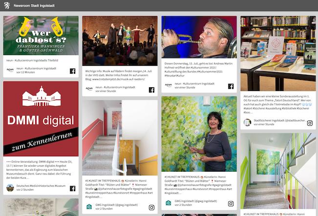 Screenshot of Ingolstadt's social newsroom displaying multiple social media posts with news.