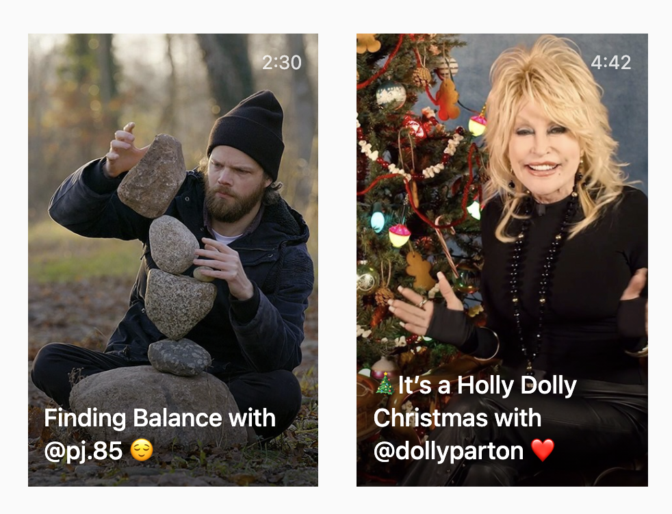 Screenshot of two IGTV videos by Instagram's official account. One features Pontus Jansson on the cover. The other video shows Dolly Parton.