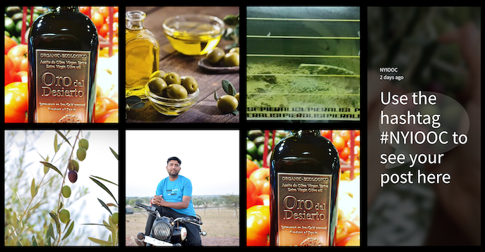 Screenshot of a social wall from the NYIOOC World Olive Oil Competition. The image shows a block with the text Use the hashtag #NYIOOC to see your post here.