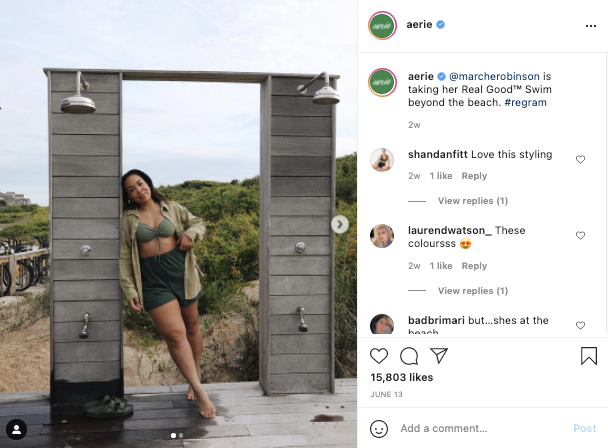 User generated content example: a screenshot of an Instagram post showing a woman wearing a bikini from brand Aerie. Caption: @marcherobinson is taking her Real Good™ Swim beyond the beach. #regram.