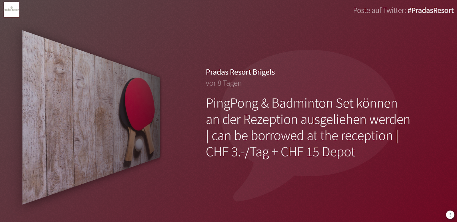 """Screenshot of Pradas Resort's social media wall. The image shows a photo of a person skiing, along with the caption """"PingPong & Badminton Set können an der Rezeption ausgeliehen werden / can be borrowed at the reception / CHF 3./tag + CHF 15 Depot"""""""