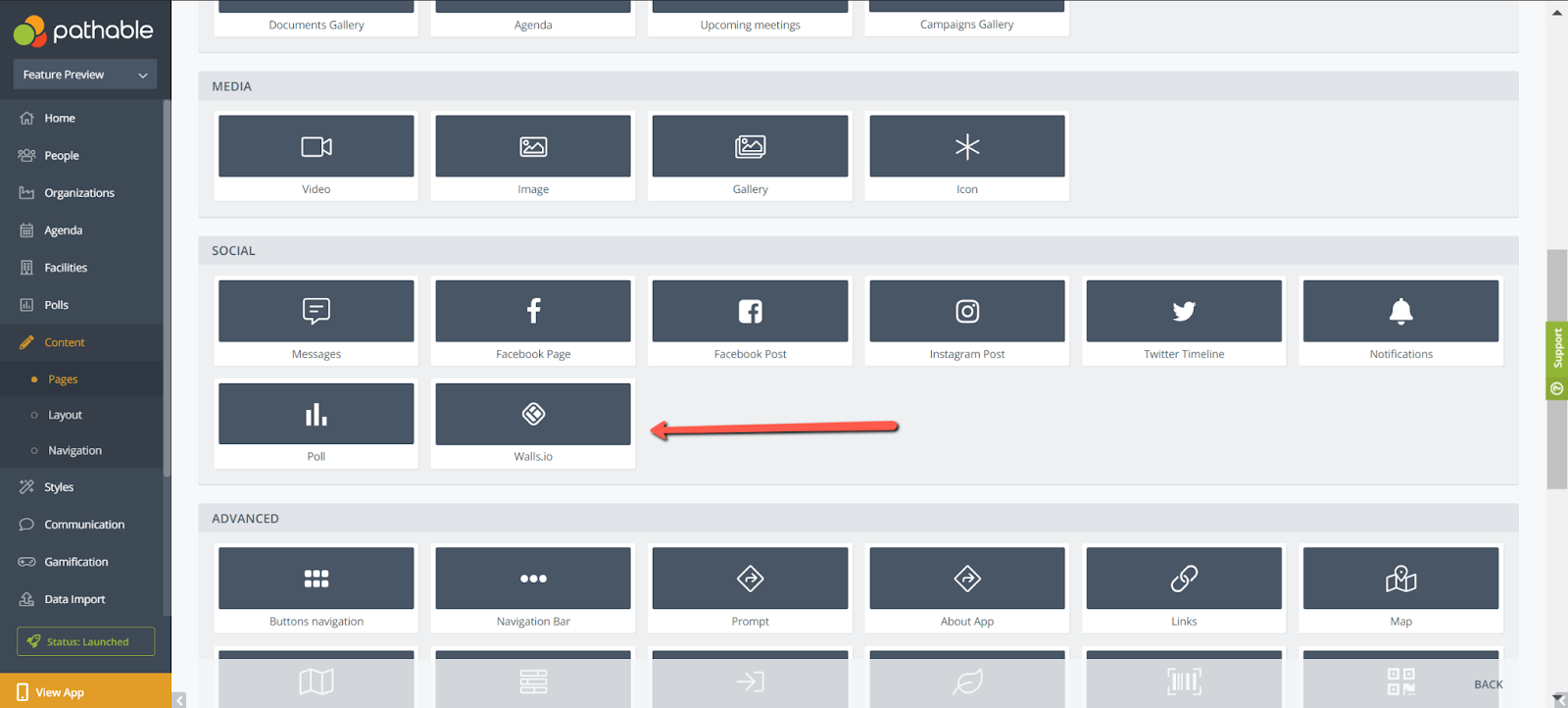 Screenshot of Pathable's interface. An arrow id pointing at the Walls.io widget icon on Pathable's backend.