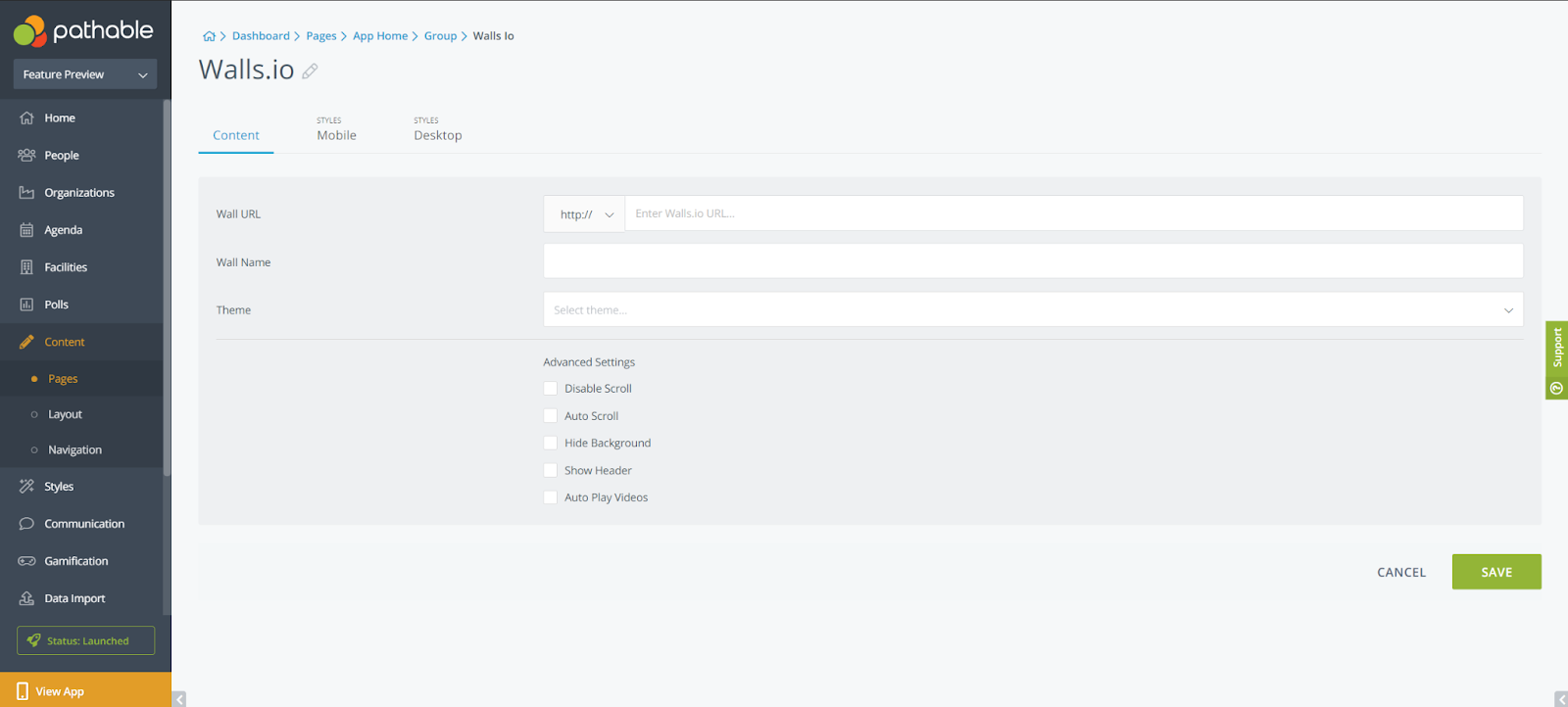 Screenshot showing the backend of Walls.io widget on Pathable's virtual event platform.