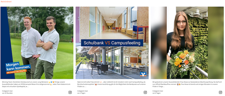 Screenshot of the social media recruiting wall from Volksbanken Raiffeisenbanken. The image shows two photos of trainees at the bank, and one shows a comparison of a school and the bank's facilities.