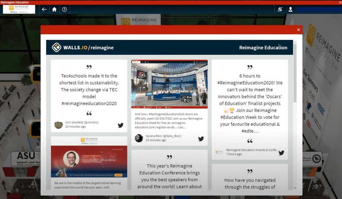 A social wall with comments and questions found at the virtual lobby of the QS Reimagine Education 2020 event.