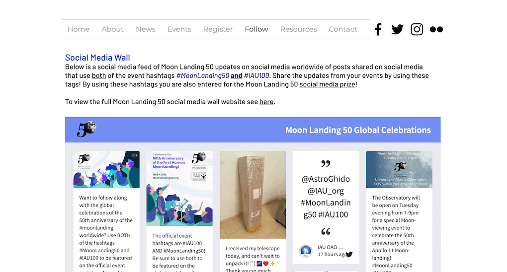 Screenshot of the Moon Landing 50 social wall.