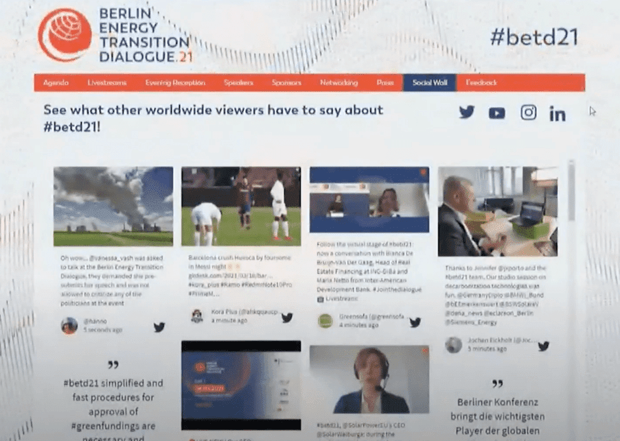 The Berlin Energy Transition Dialogue website displaying a feed with multiple social media posts.