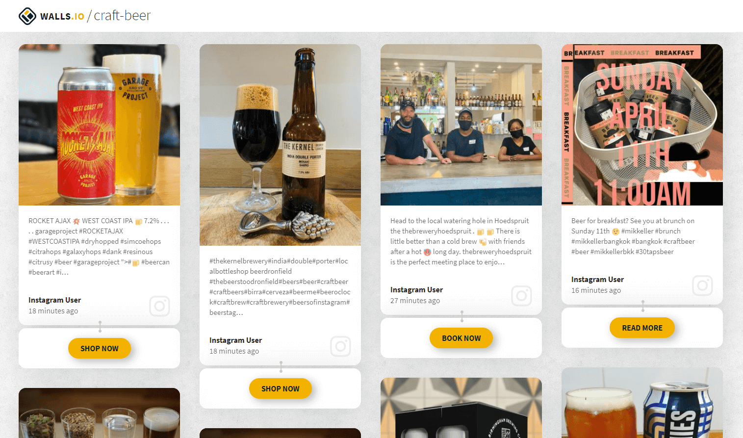 """Increase online sales through social media step 3. A social media wall with different posts about craft beer. Two posts show a can and a glass full of beer and a """"Shop now"""" button. Another post promotes a craft beer event with a """"Book now"""" button."""