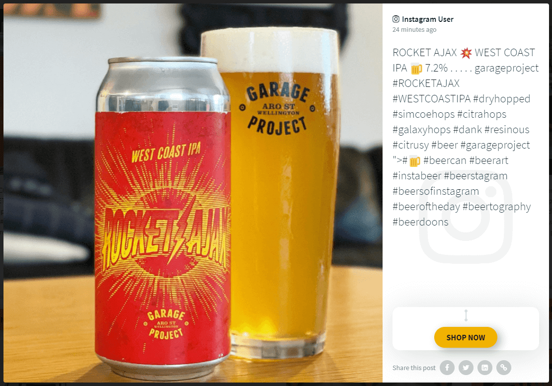 """Increase online sales through social media step 3. Screenshot of a social media post on a social wall: The image shows a can of craft beer and a glass full of beer. The post caption shows a description of the beer and a call-to-action button titled """"Shop now."""""""