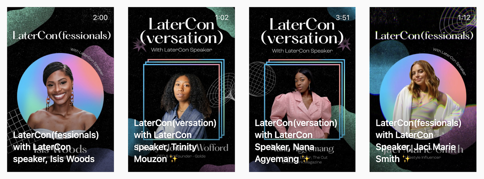 Screenshot of four IGTV videos by Later. Each video features a speaker from the LaterCon conference.