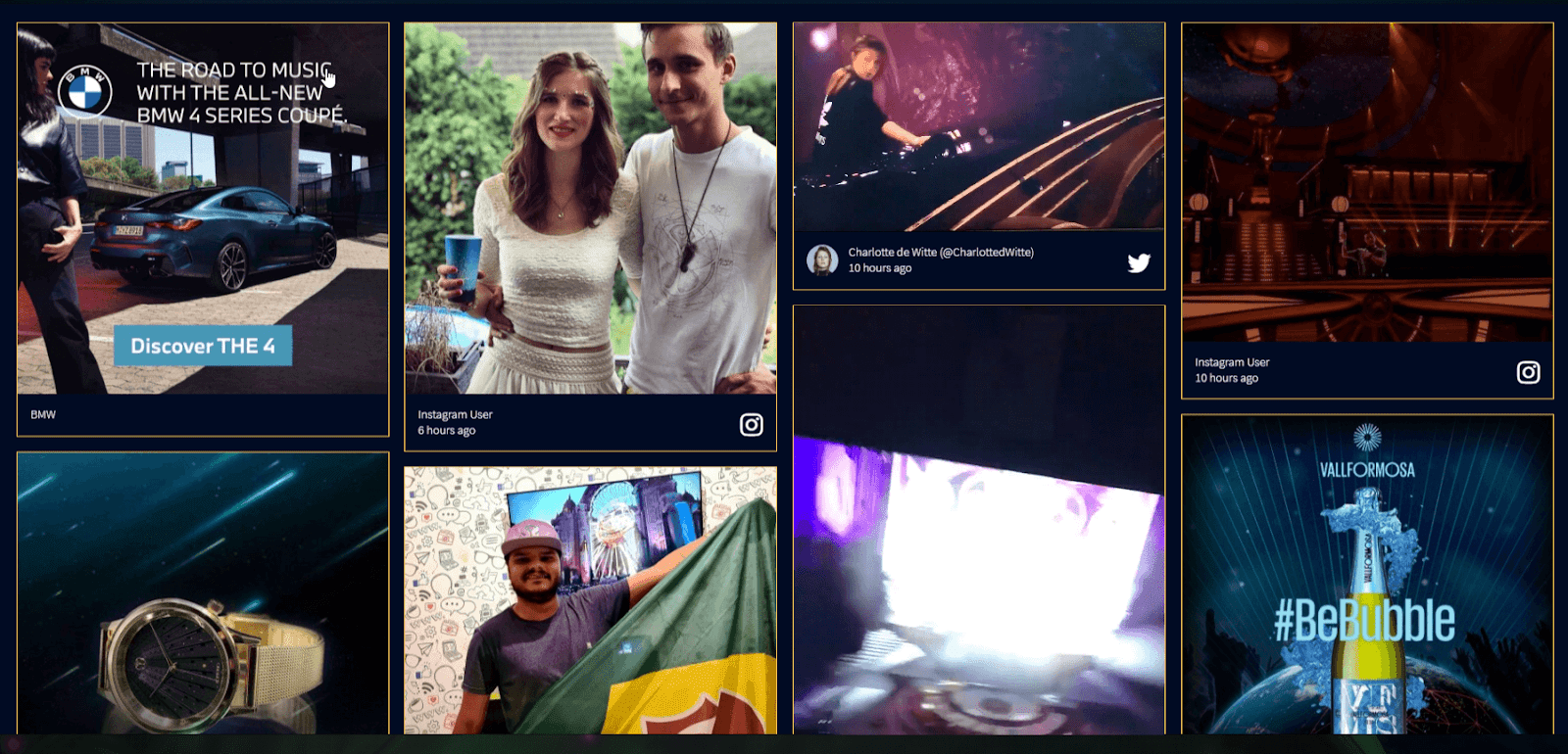 Screenshot of the Tomorrowland social wall, including sponsored posts by BMW and Vallformosa.