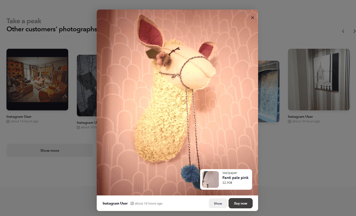 """An example of a shoppable Instagram post with the call-to-action """"buy now"""" on the Wallpaper from the 70s website."""