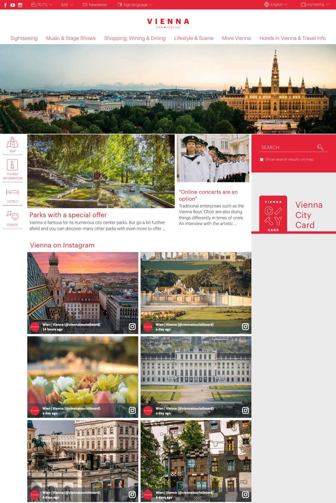 Screenshot of Vienna Tourist Board's social media wall. The image shows different Viennese sceneries.