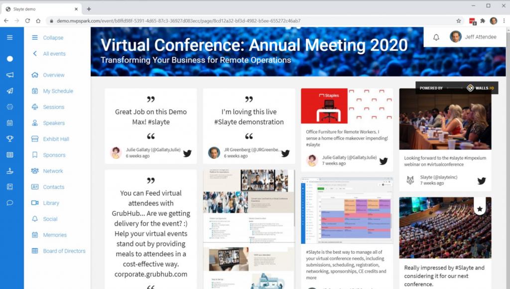 Slayte's virtual event platform showing a social media wall.
