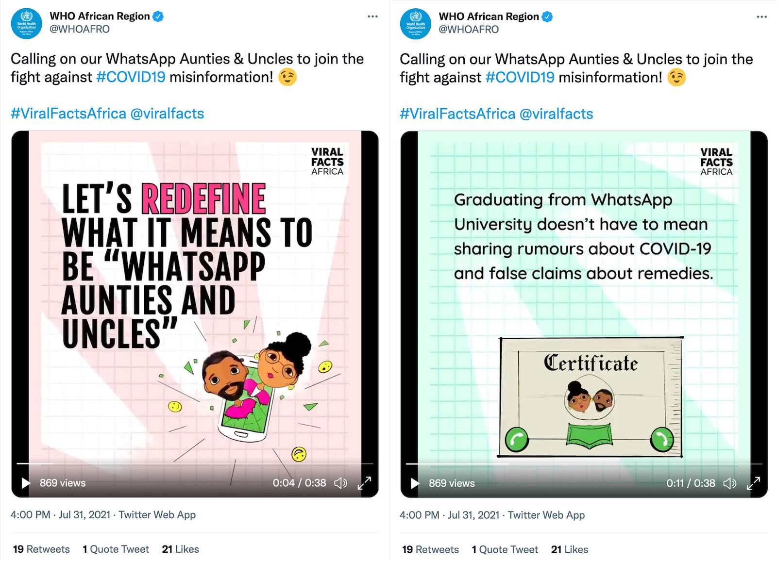 """The image shows the same tweet by WHO Africa Region side-by-side with the video paused at different times. The tweet text reads """"Calling on our WhatsApp Aunties & Uncles to join the fight against #COVID19 misinformation! #ViralFactsAfrica @viralfacts""""  The video still on the left shows illustrations of two BIPOC people bursting out of a mobile phone screen. The bold text reads """"Let's redefine what it means to be """"WhatsApp aunties and uncles"""""""". The video still on the left shows an illustrated """"certificate"""" with the characters from the previous still on it. The text reads """"Graduating from WhatsApp University doesn't have to mean sharing rumours about COVID-19 and false claims about remedies.""""  In both stills the Viral Facts Africa logo is shown in the top right corner."""