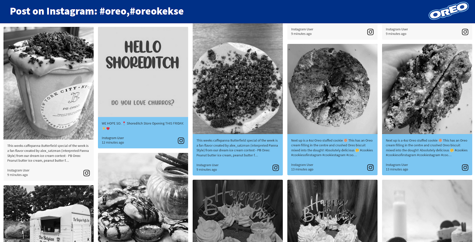 Screenshot of the Oreo branded social media feed with images in a range of grey shades from white to black.