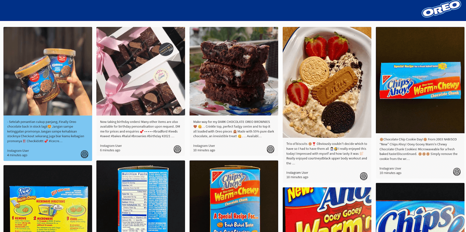 Screenshot of a social wall displaying social media posts in which icons were replaced with Oreo cookies.