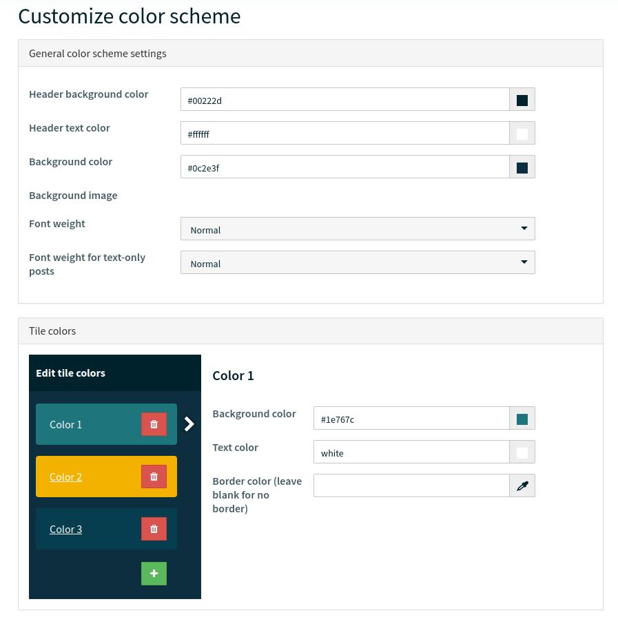 Screenshot of the color scheme area in Walls.io.
