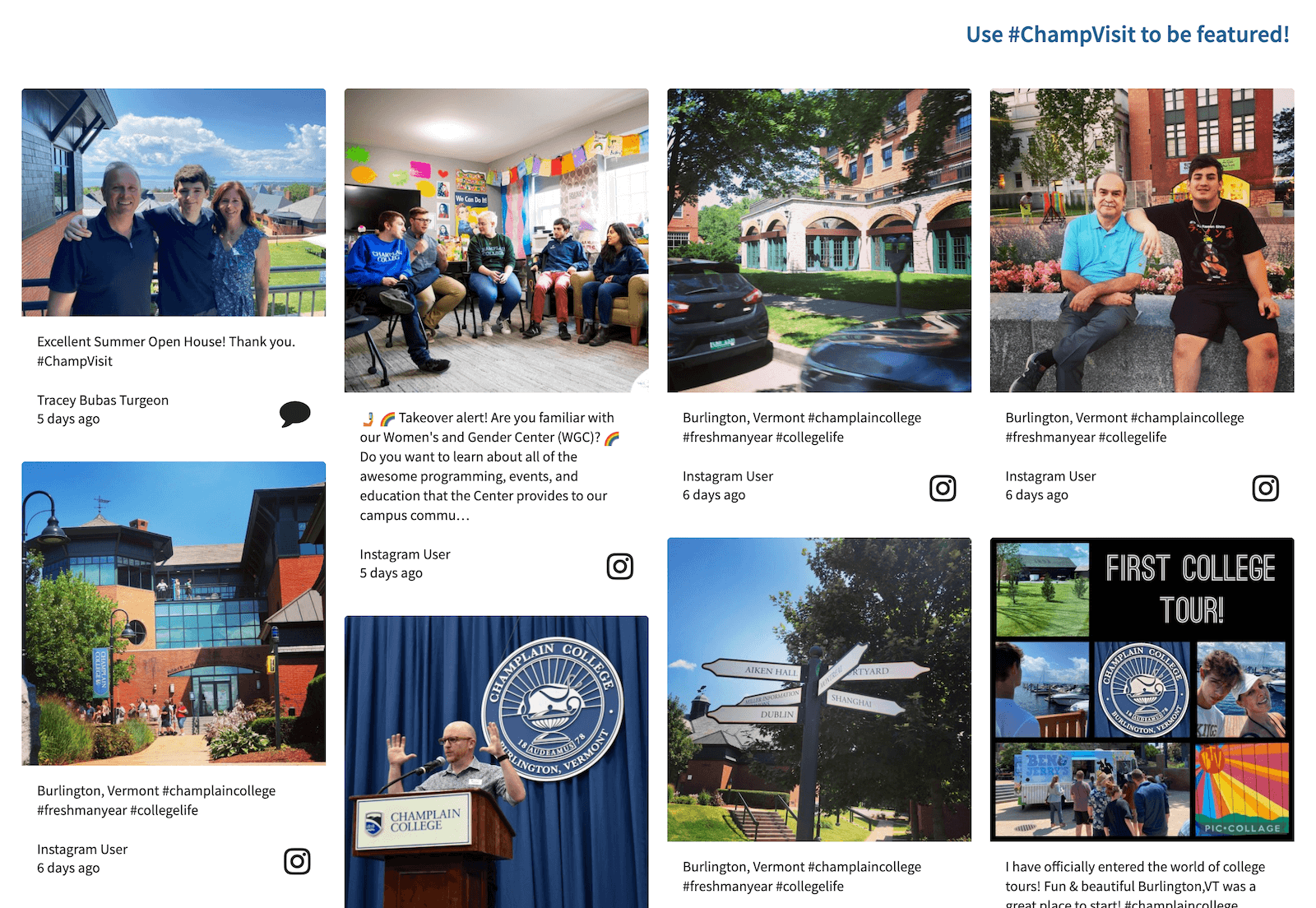 Screenshot of the #ChampVisit social wall. It shows pictures of people visiting Champlain College, the campus grounds, group meetings, college tours etc.
