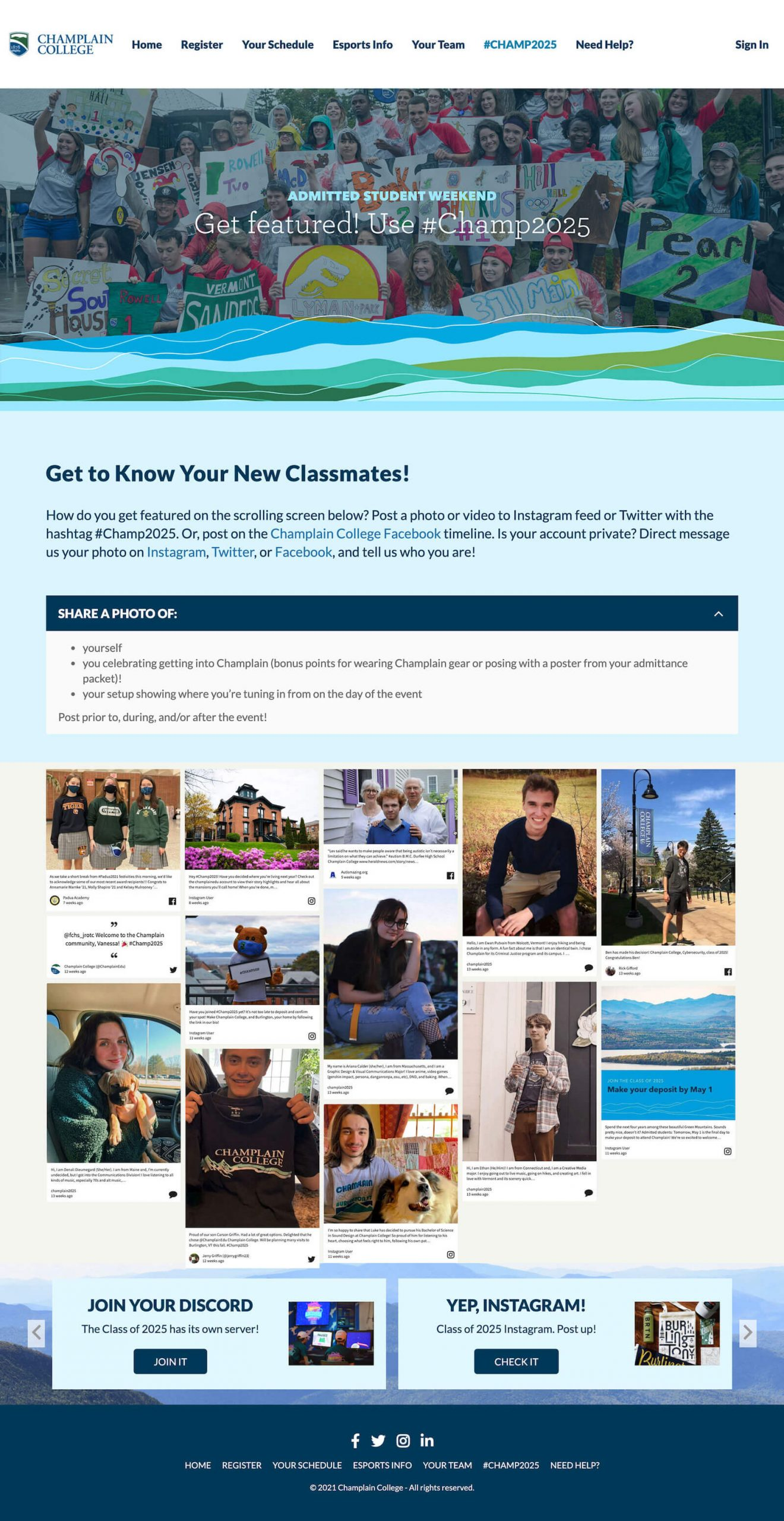"""Screenshot of the Champlain College event page for the Admitted Student Weekend. The header proclaims, """"Get Featured! Use #Champ2025"""" and the social wall is embedded. There are also instructions for what to do and how to post to get on the wall."""