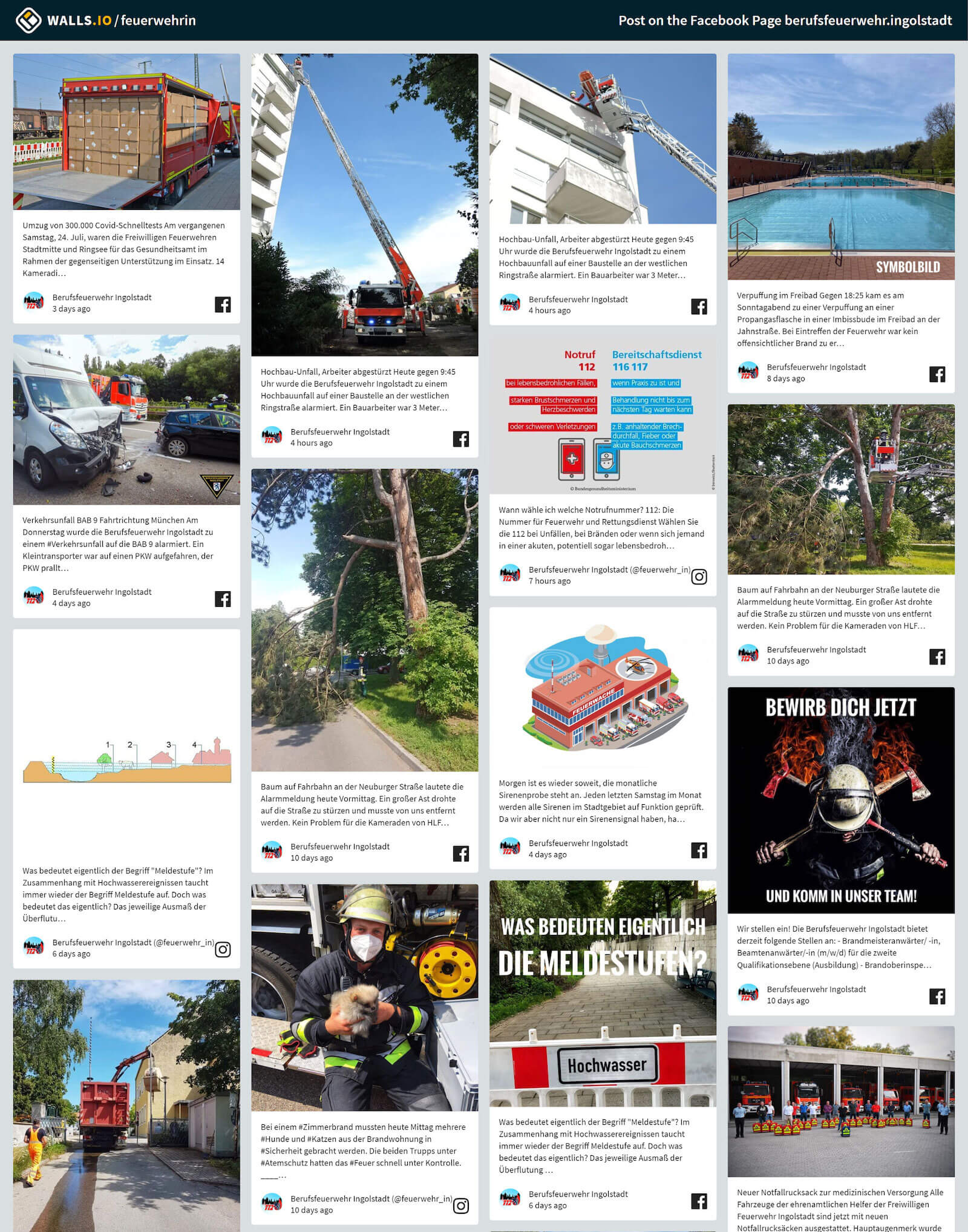 Screenshot of the social media newsroom filled with posts from Ingolstadt's fire brigade account.