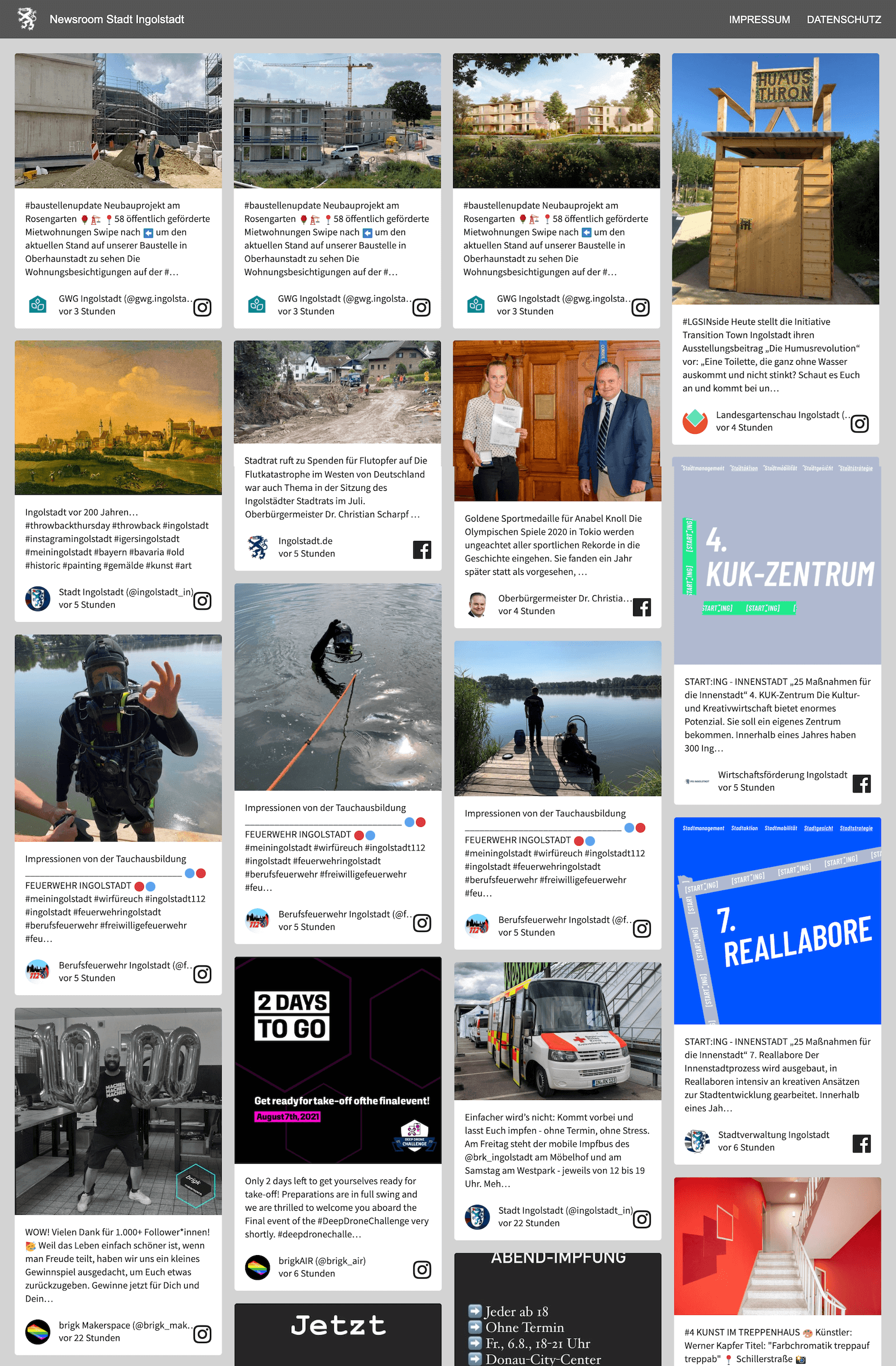 Screenshot of the social media newsroom embed on the Ingolstadt website. It shows posts from various sources, such as the city, the mayor, the fire brigade, cultural institutions and a construction company.