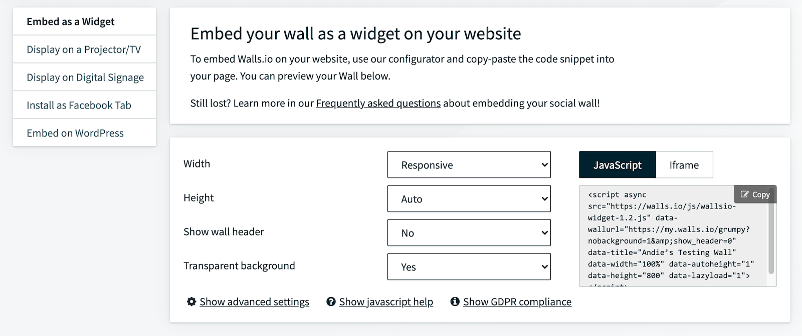 """Screenshot from the Walls.io dashboard showing the """"Embed as a Widget"""" menu where users can copy the JavaScript or iframe embed code for their social media news room."""