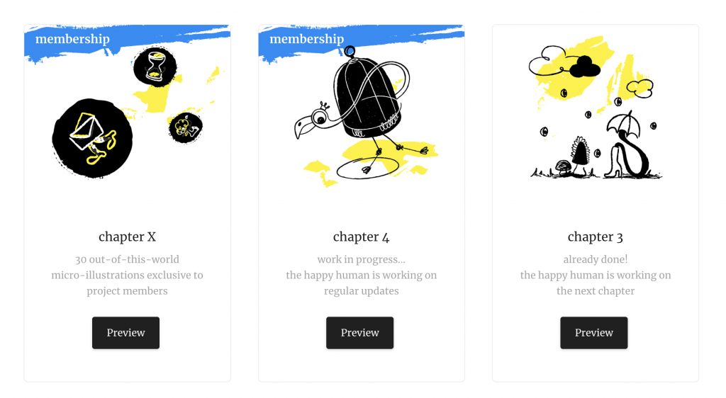 Screenshot of a website showing three boxes that the user can click to access footage of different stages of an artist's creative progress.