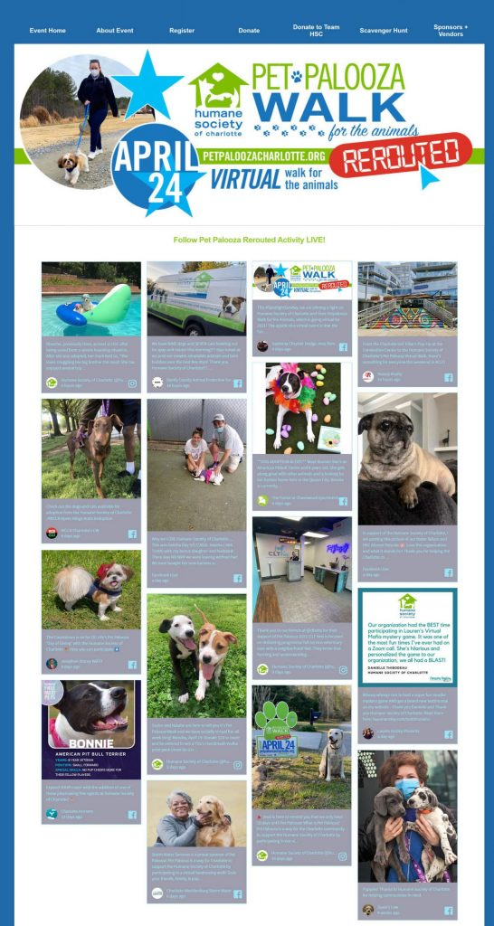 Screenshot of the social wall embedded on the Pet Palooza Rerouted website.