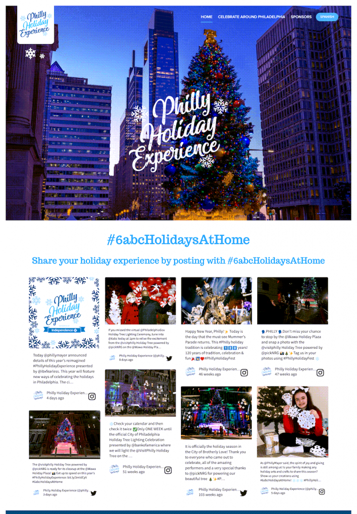 The Philly Holiday Experience website includes an announcement for the Tree Lighting Ceremony and an embed of the #6abcHolidaysAtHome social media feed. (audience engagement)