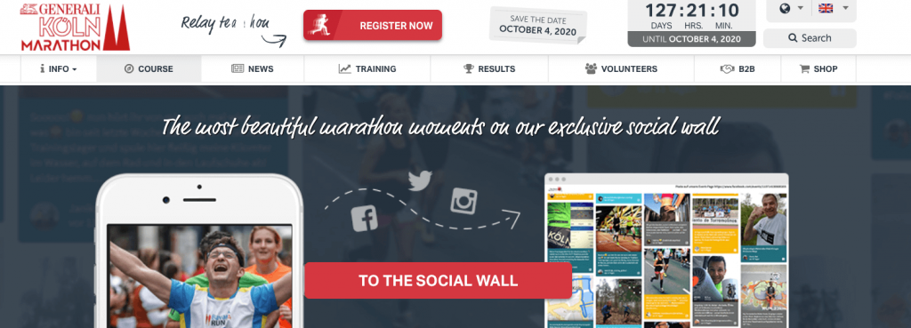 Screenshot of Generali Cologne Marathon website. The image shows a social wall with instructions on how to post.