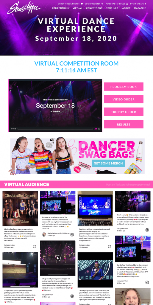 Screenshot of Showstopper virtual event competition website. The image shows a live stream and a social wall next to it.