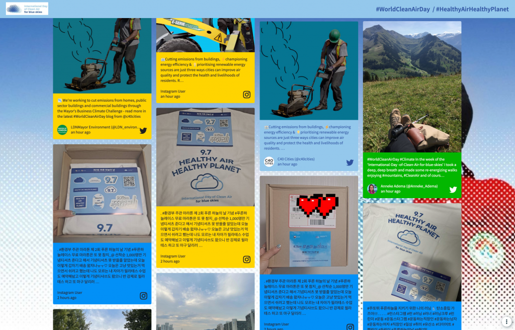 Screesnhot of a social wall that celebrates international day of clean air for blue skies. Event example.