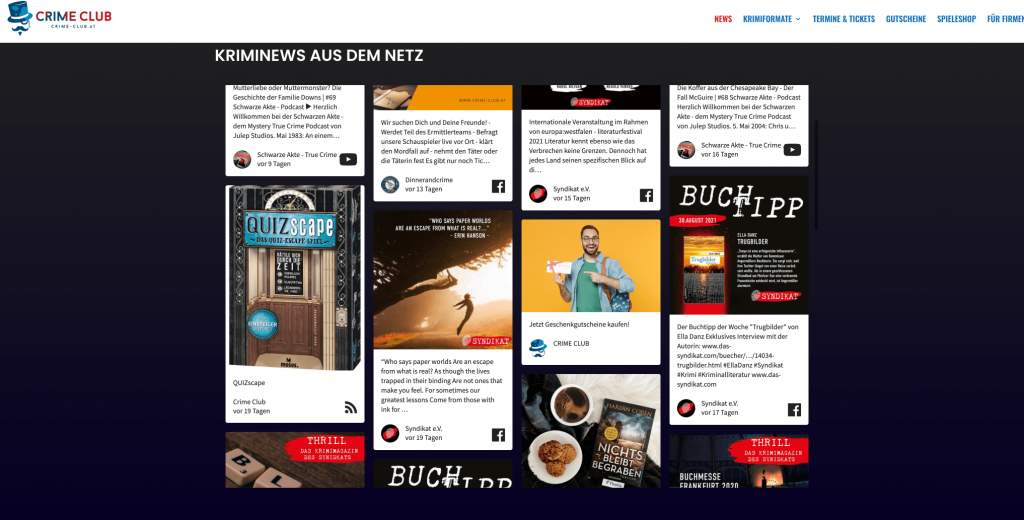 Screenshot of Crime Club's social wall.