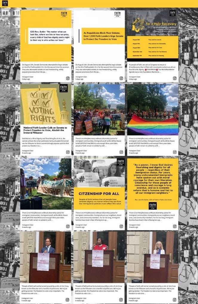 Screenshot of the social wall of a religious group that fights for social justice. (event examples, audience engagement)