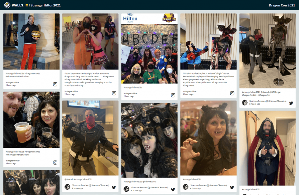 Screenshot of the social wall from DragCon. The wall displays photos from people in costumes. (Event examples, audience engagement)