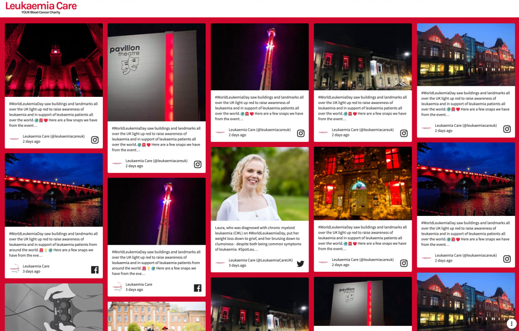 Screesnhot of a social wall that celebrates World Leukemia Day. (audience engagement)