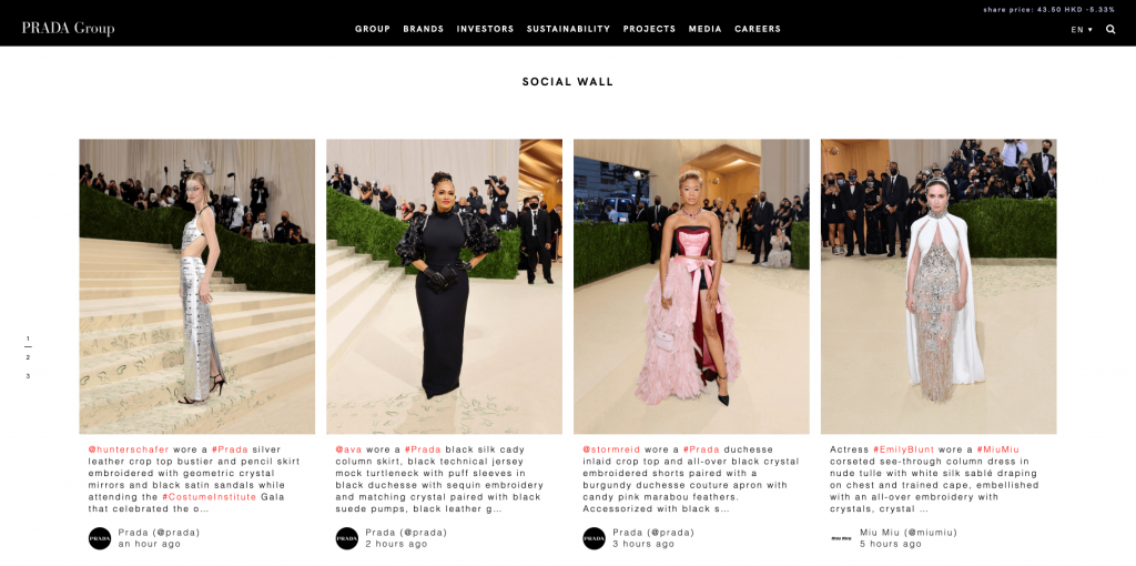 Screenshot of Prada's social wall where many celebreties appear wearing the brand's creations.